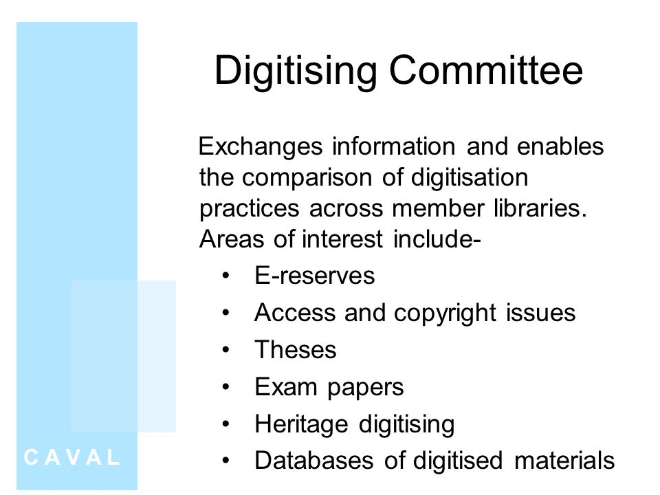 Digitising Committee C A V A L Exchanges information and enables the comparison of digitisation practices across member libraries.
