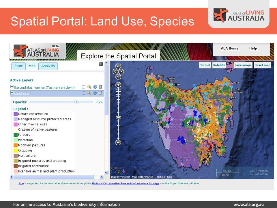 Spatial Portal: Land Use, Species