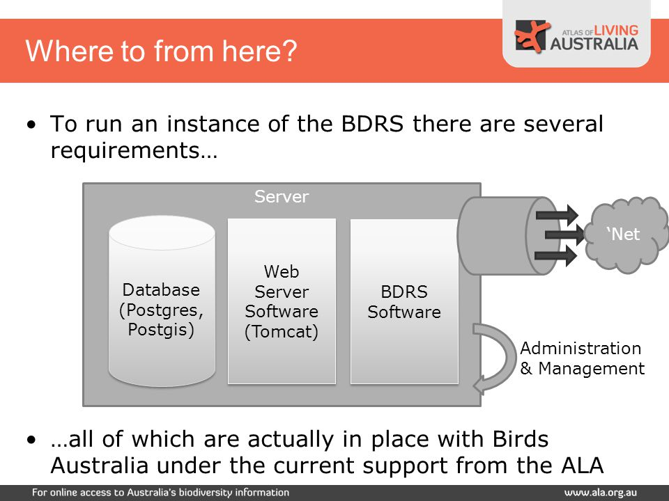 To run an instance of the BDRS there are several requirements… …all of which are actually in place with Birds Australia under the current support from the ALA Server Where to from here.