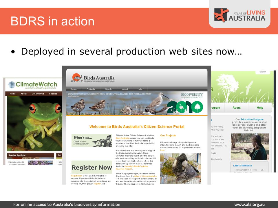 BDRS in action Deployed in several production web sites now…