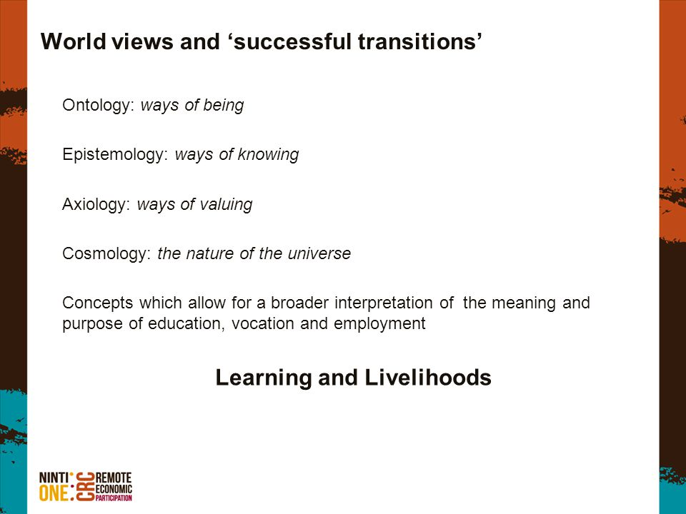 World views and 'successful transitions' Ontology: ways of being Epistemology: ways of knowing Axiology: ways of valuing Cosmology: the nature of the universe Concepts which allow for a broader interpretation of the meaning and purpose of education, vocation and employment Learning and Livelihoods
