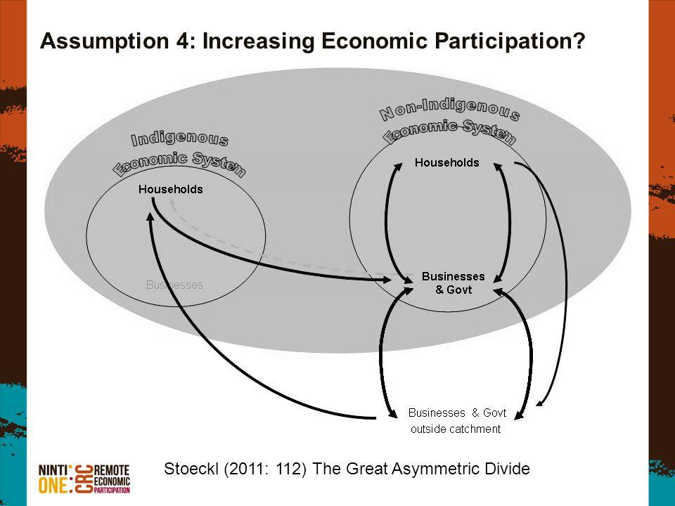 Assumption 4: Increasing Economic Participation Stoeckl (2011: 112) The Great Asymmetric Divide