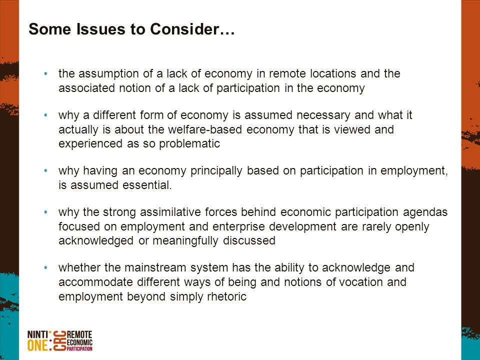 Some Issues to Consider… the assumption of a lack of economy in remote locations and the associated notion of a lack of participation in the economy w