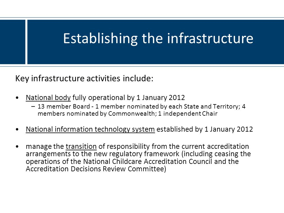 Key infrastructure activities include: National body fully operational by 1 January 2012 –13 member Board - 1 member nominated by each State and Territory; 4 members nominated by Commonwealth; 1 independent Chair National information technology system established by 1 January 2012 manage the transition of responsibility from the current accreditation arrangements to the new regulatory framework (including ceasing the operations of the National Childcare Accreditation Council and the Accreditation Decisions Review Committee) Establishing the infrastructure