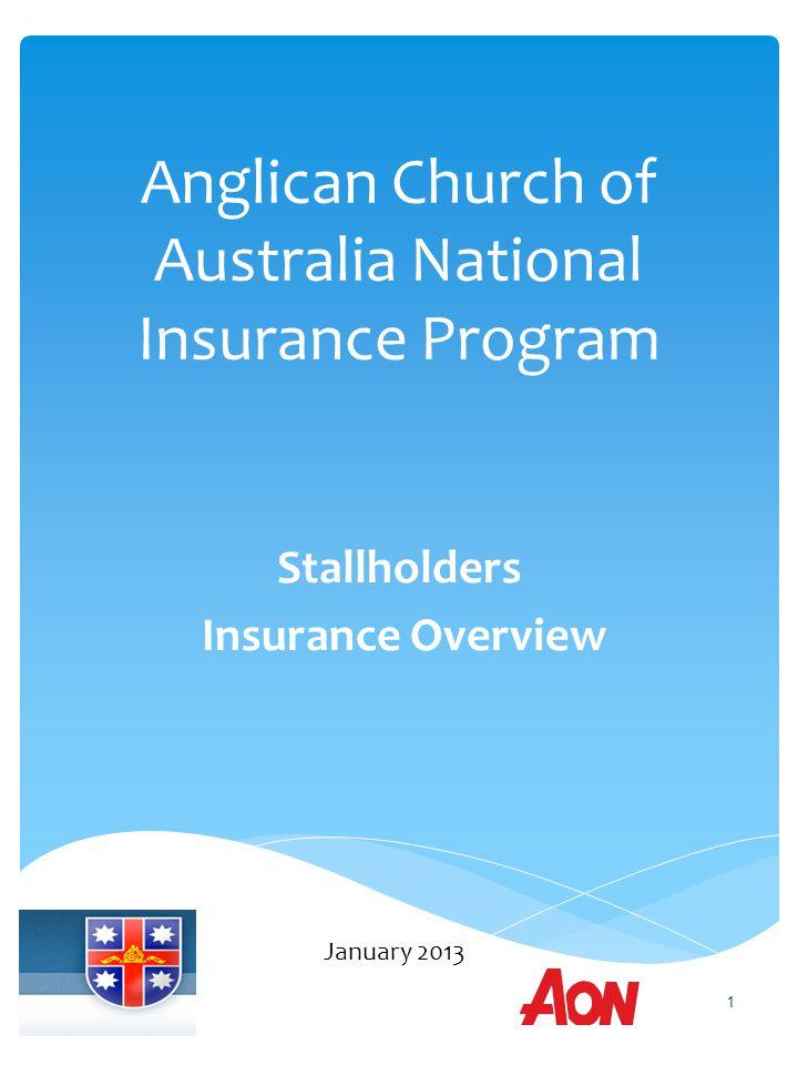 Anglican Church of Australia National Insurance Program Stallholders Insurance Overview January 2013 1