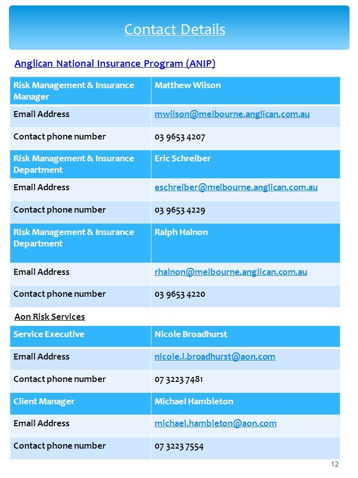 Anglican National Insurance Program (ANIP) Aon Risk Services Service ExecutiveNicole Broadhurst Email Addressnicole.l.broadhurst@aon.com Contact phone