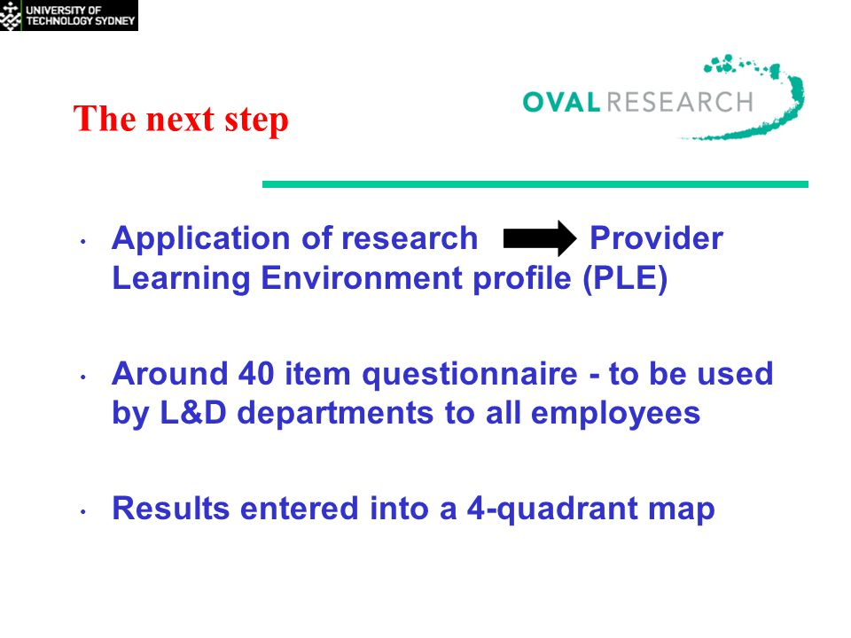 The next step Application of research Provider Learning Environment profile (PLE) Around 40 item questionnaire - to be used by L&D departments to all employees Results entered into a 4-quadrant map