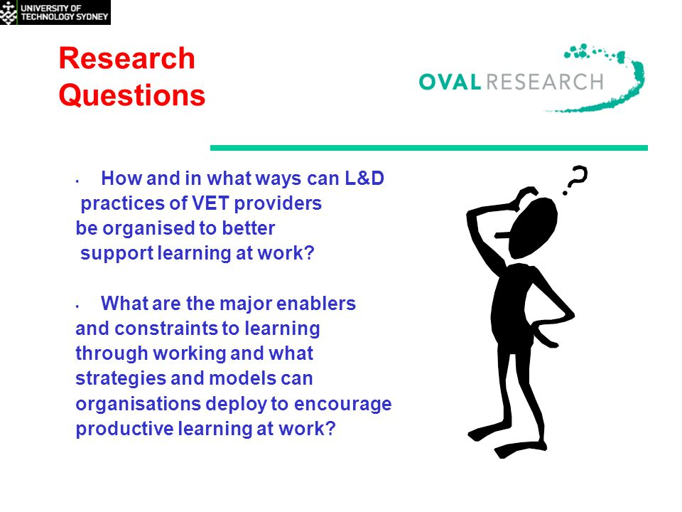 Research Questions How and in what ways can L&D practices of VET providers be organised to better support learning at work.