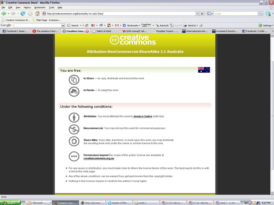 Licences AUSTRALIA part of the Creative Commons international initiative