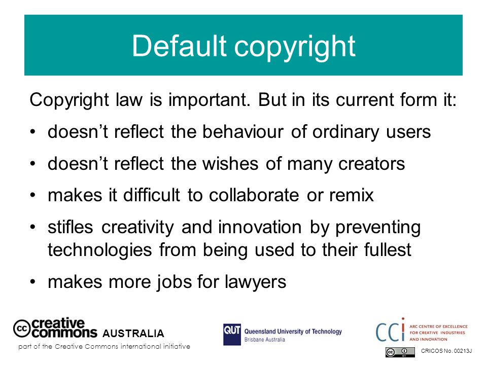 Default copyright Copyright law is important.