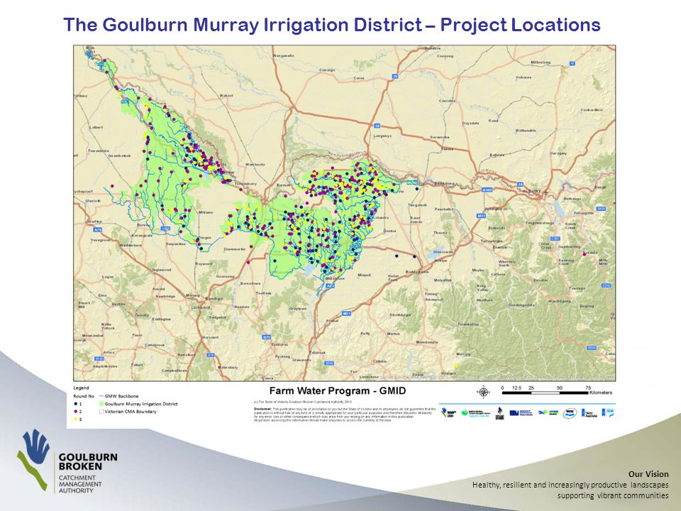 Our Vision Healthy, resilient and increasingly productive landscapes supporting vibrant communities The Goulburn Murray Irrigation District – Project Locations