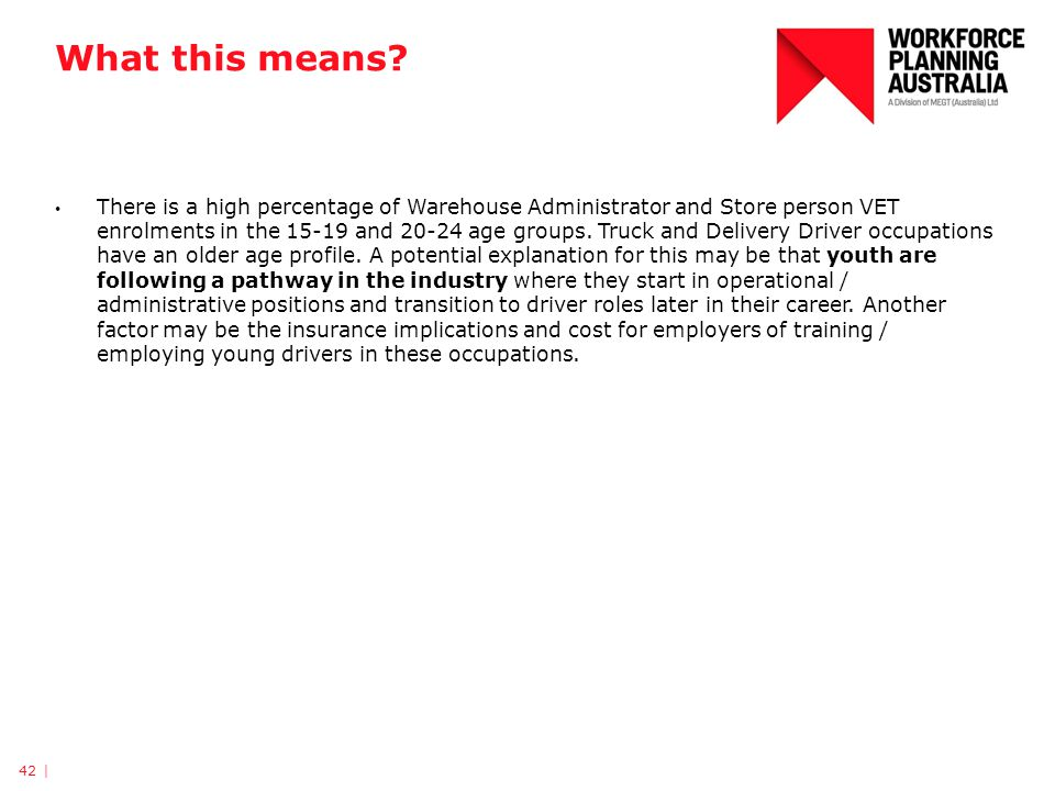 What this means? There is a high percentage of Warehouse Administrator and Store person VET enrolments in the 15-19 and 20-24 age groups. Truck and De