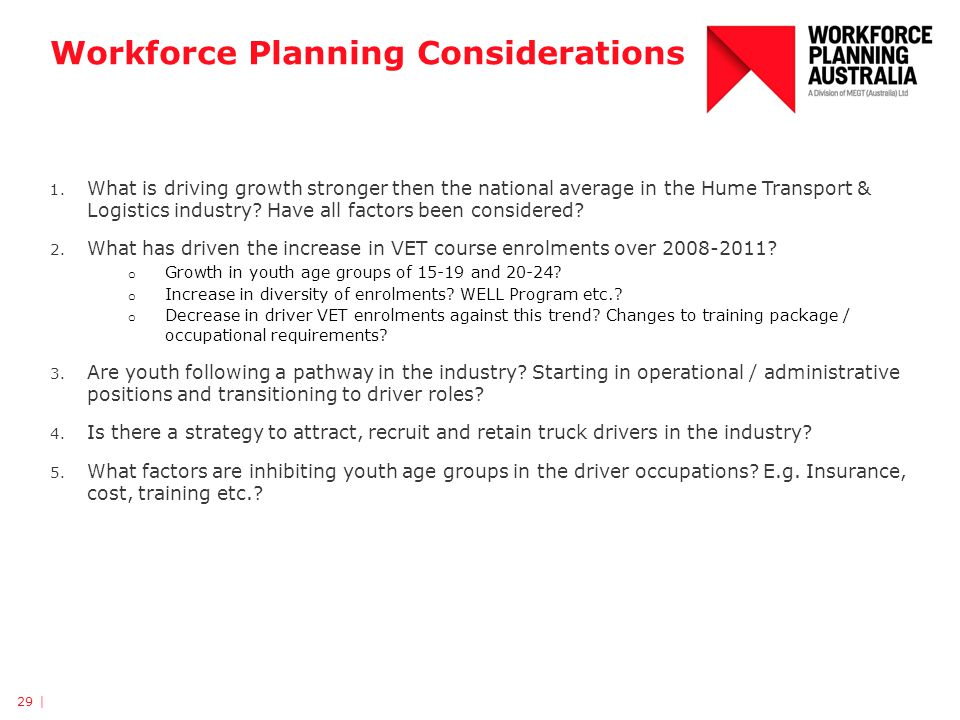 Workforce Planning Considerations 1. What is driving growth stronger then the national average in the Hume Transport & Logistics industry? Have all fa