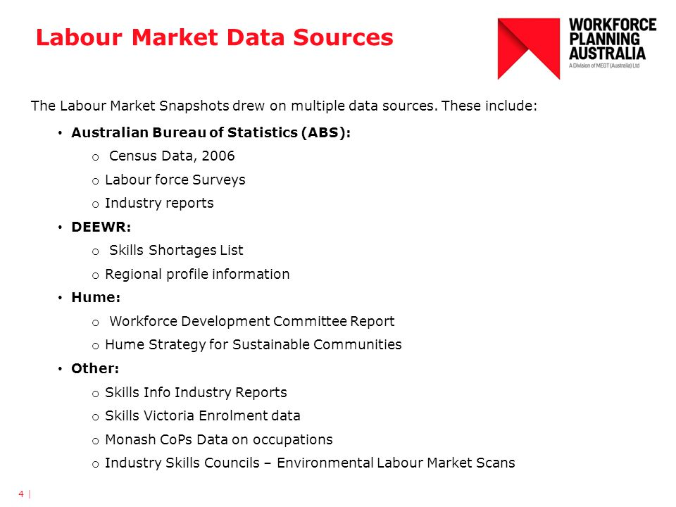 Labour Market Data Sources 4 | The Labour Market Snapshots drew on multiple data sources. These include: Australian Bureau of Statistics (ABS): o Cens