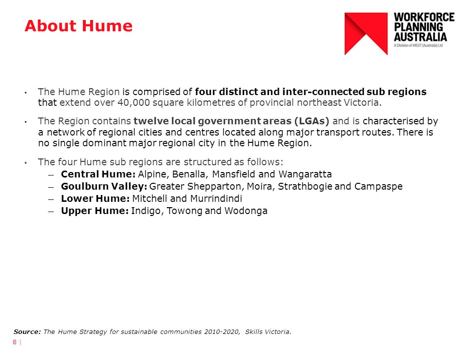 About Hume The Hume Region is comprised of four distinct and inter-connected sub regions that extend over 40,000 square kilometres of provincial north