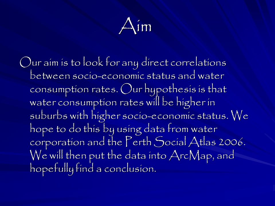 What we achieved After comparing the results we proved that there was no correlation between the socio- economic status of a suburb and the water consumption.