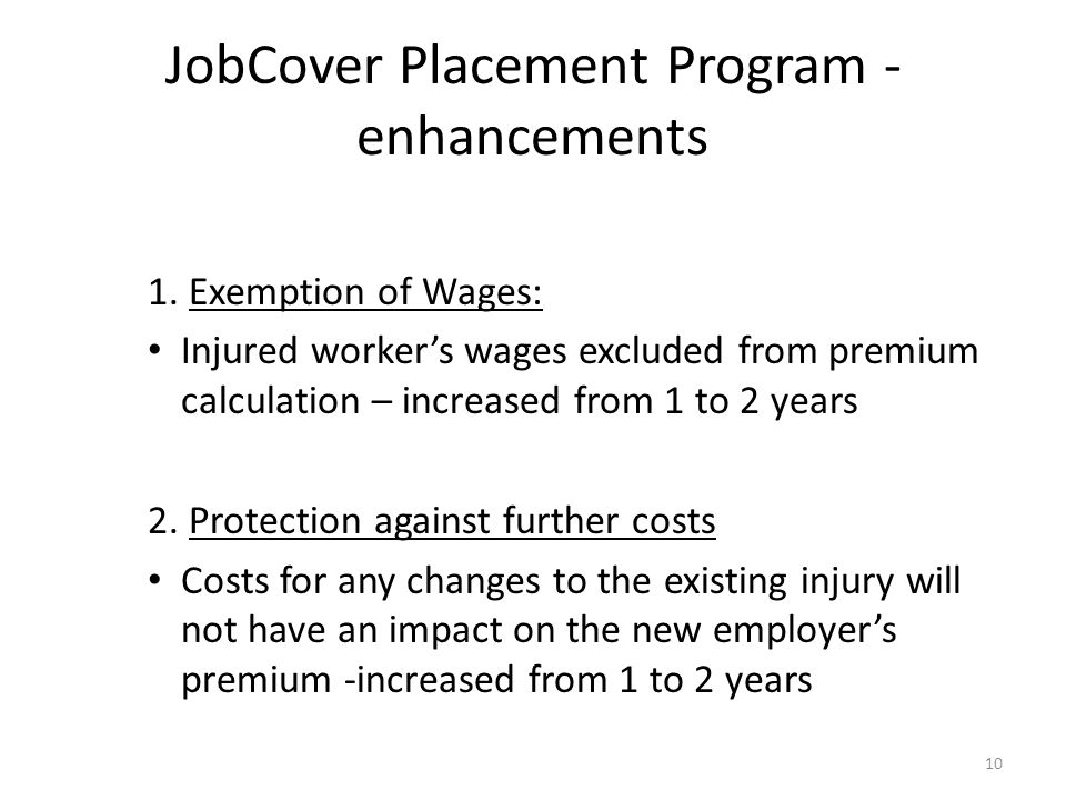 JobCover Placement Program - enhancements 10 1.