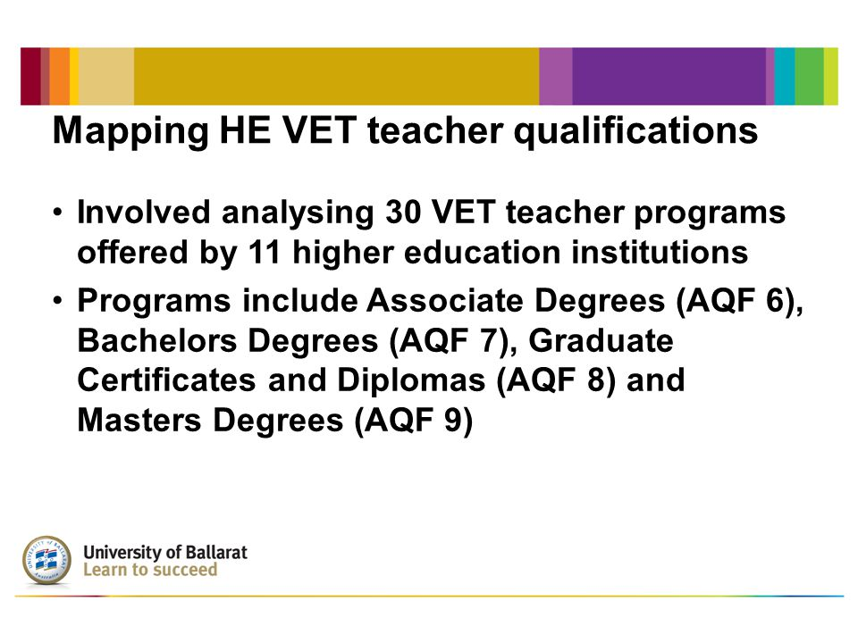 Mapping HE VET teacher qualifications Involved analysing 30 VET teacher programs offered by 11 higher education institutions Programs include Associate Degrees (AQF 6), Bachelors Degrees (AQF 7), Graduate Certificates and Diplomas (AQF 8) and Masters Degrees (AQF 9)