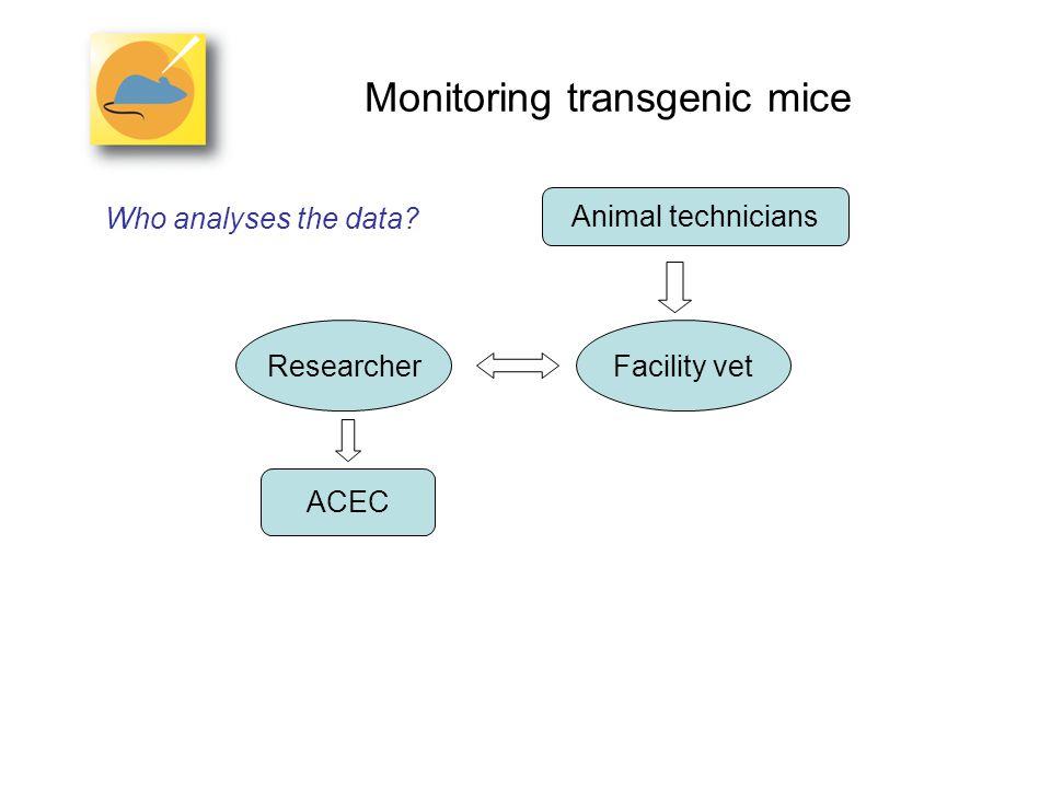 Monitoring transgenic mice Who analyses the data Animal technicians ResearcherFacility vet ACEC