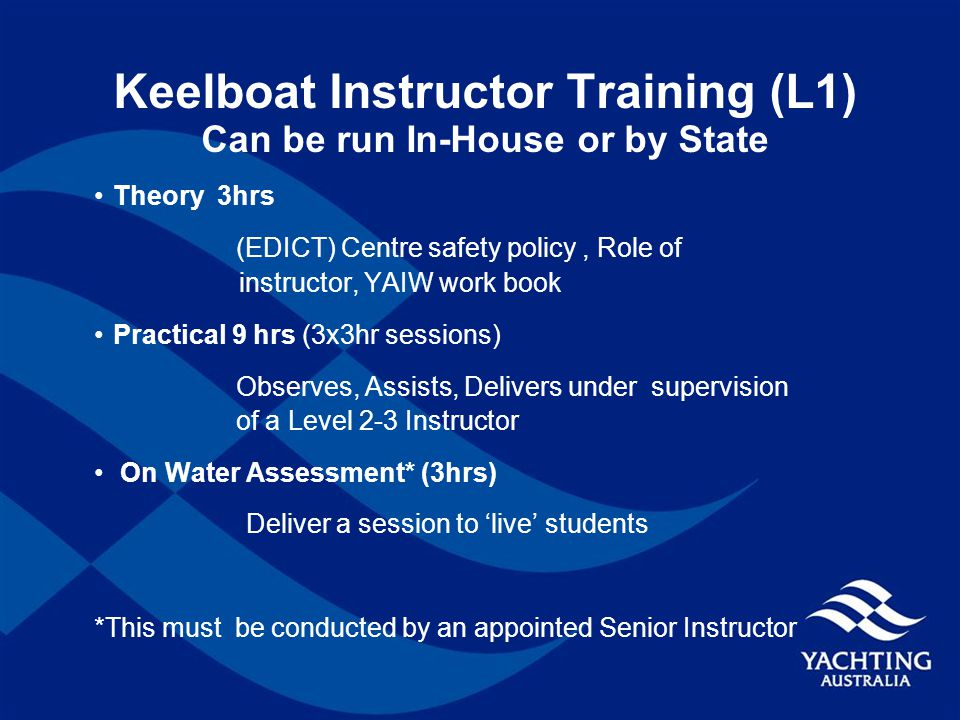 Keelboat Instructor Training (L1) Can be run In-House or by State Theory 3hrs (EDICT) Centre safety policy, Role of instructor, YAIW work book Practical 9 hrs (3x3hr sessions) Observes, Assists, Delivers under supervision of a Level 2-3 Instructor On Water Assessment* (3hrs) Deliver a session to 'live' students *This must be conducted by an appointed Senior Instructor
