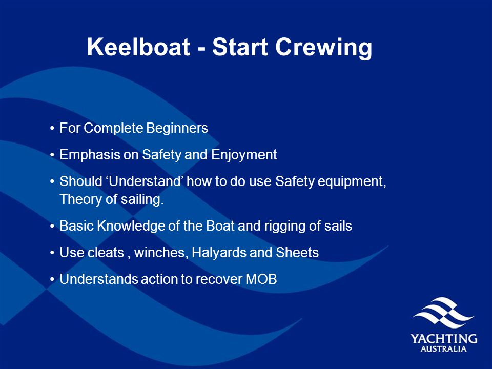 Keelboat - Start Crewing For Complete Beginners Emphasis on Safety and Enjoyment Should 'Understand' how to do use Safety equipment, Theory of sailing.
