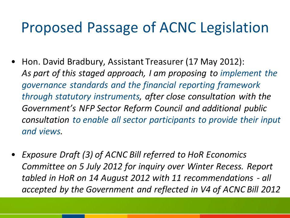 Proposed Passage of ACNC Legislation Hon.