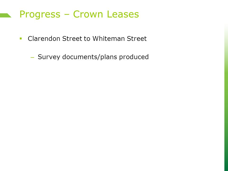  Clarendon Street to Whiteman Street – Survey documents/plans produced Progress – Crown Leases
