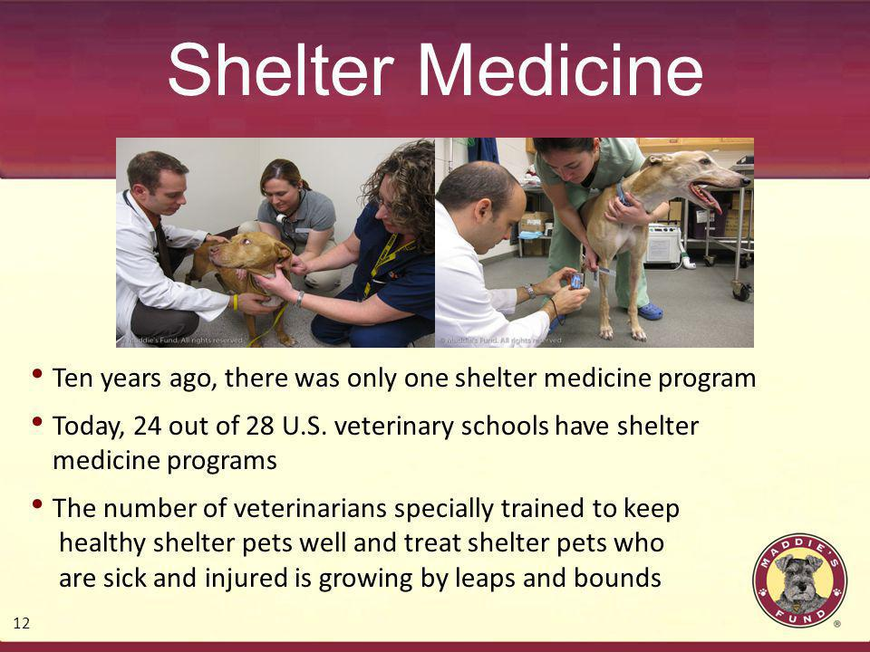 Shelter Medicine Ten years ago, there was only one shelter medicine program Today, 24 out of 28 U.S.