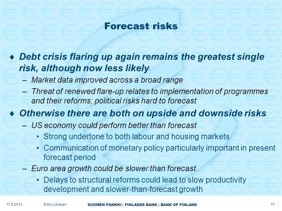 SUOMEN PANKKI | FINLANDS BANK | BANK OF FINLAND Forecast risks  Debt crisis flaring up again remains the greatest single risk, although now less likely –Market data improved across a broad range –Threat of renewed flare-up relates to implementation of programmes and their reforms; political risks hard to forecast  Otherwise there are both on upside and downside risks –US economy could perform better than forecast Strong undertone to both labour and housing markets Communication of monetary policy particularly important in present forecast period –Euro area growth could be slower than forecast Delays to structural reforms could lead to slow productivity development and slower-than-forecast growth 17.9.2013Erkki Liikanen 17