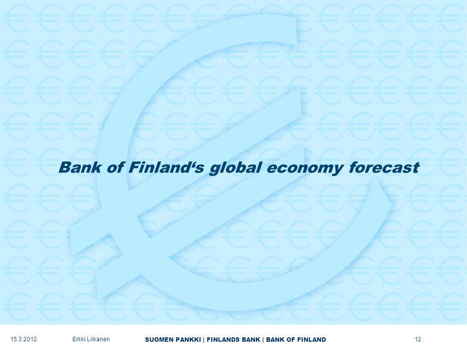 SUOMEN PANKKI | FINLANDS BANK | BANK OF FINLAND Bank of Finland's global economy forecast 15.3.2012Erkki Liikanen12