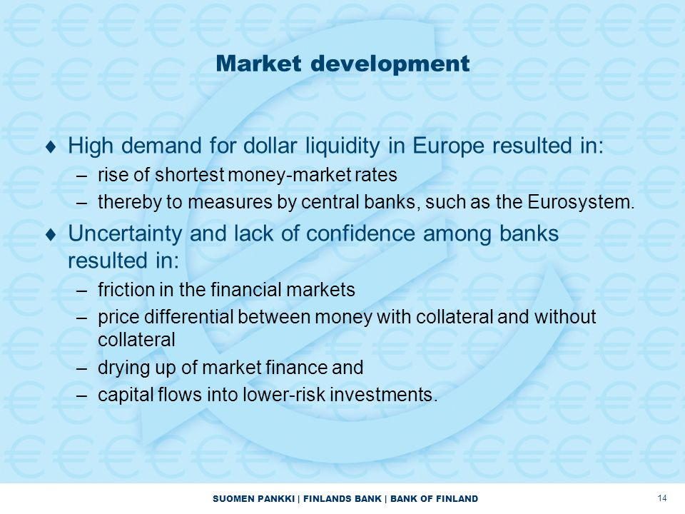 SUOMEN PANKKI | FINLANDS BANK | BANK OF FINLAND 14 Market development  High demand for dollar liquidity in Europe resulted in: –rise of shortest money-market rates –thereby to measures by central banks, such as the Eurosystem.