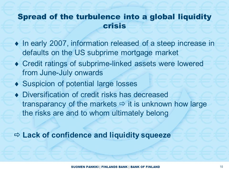 SUOMEN PANKKI | FINLANDS BANK | BANK OF FINLAND 18 Spread of the turbulence into a global liquidity crisis  In early 2007, information released of a