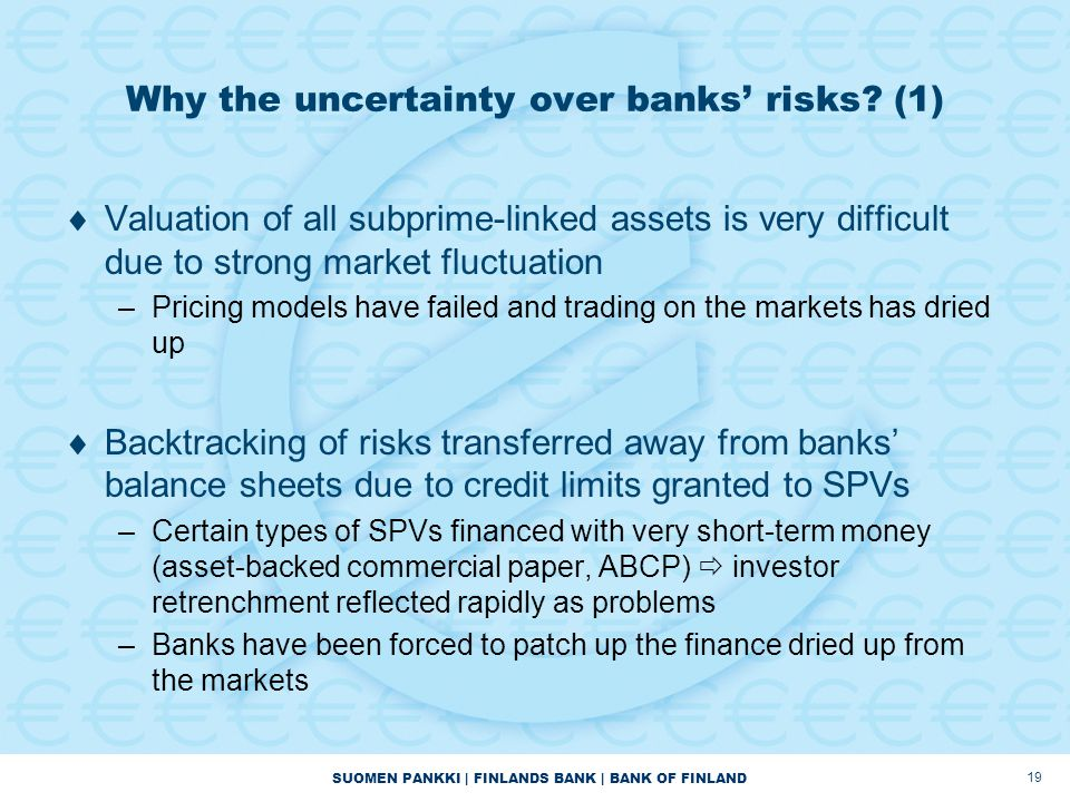 SUOMEN PANKKI | FINLANDS BANK | BANK OF FINLAND 19 Why the uncertainty over banks' risks.