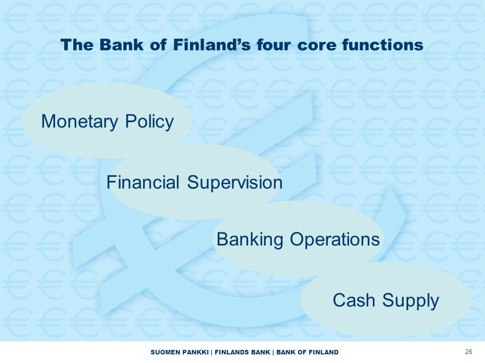 SUOMEN PANKKI | FINLANDS BANK | BANK OF FINLAND 26 The Bank of Finland's four core functions Monetary Policy Financial Supervision Banking Operations Cash Supply