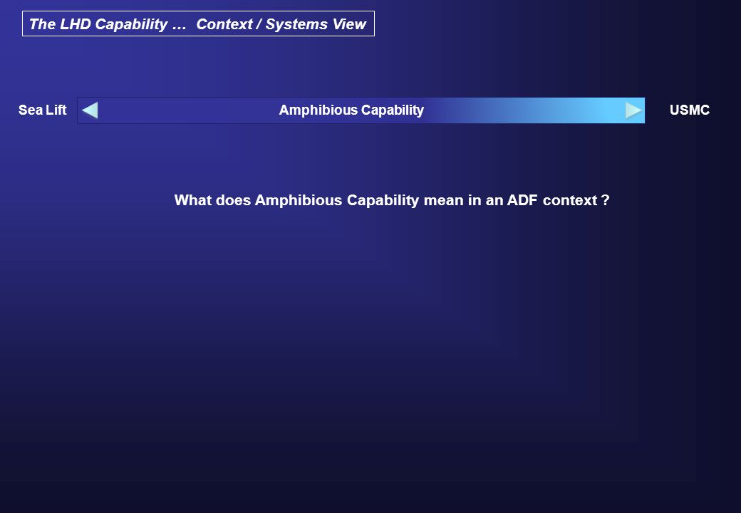 The LHD Capability … Context / Systems View What does Amphibious Capability mean in an ADF context .