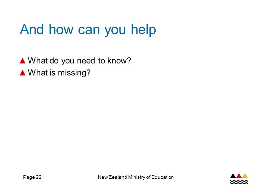 Page 22New Zealand Ministry of Education And how can you help ▲ What do you need to know.
