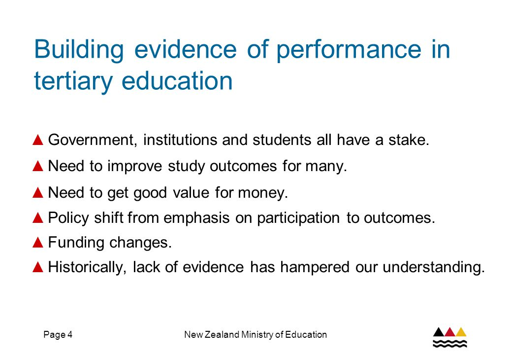 Page 5New Zealand Ministry of Education Where we came from ▲ Unit record data has been collected since early 90s on parts of the tertiary education system ▲ From 2000, the collection was enhanced – with the SDR ▲ So there was a great and rich resource ▲ But little use was made of it, except internal analyses to underpin some policy projects ▲ With the 2002 reforms, the ministry needed to take a system view of performance – and saw a greater need for public accountability information ▲ So we set about creating an evidence base from the available data ▲ to underpin policy ▲ to provide accountability to public ▲ and to support sector planning