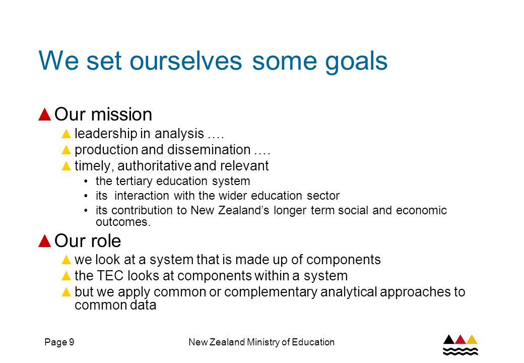 Page 9New Zealand Ministry of Education We set ourselves some goals ▲ Our mission ▲ leadership in analysis ….