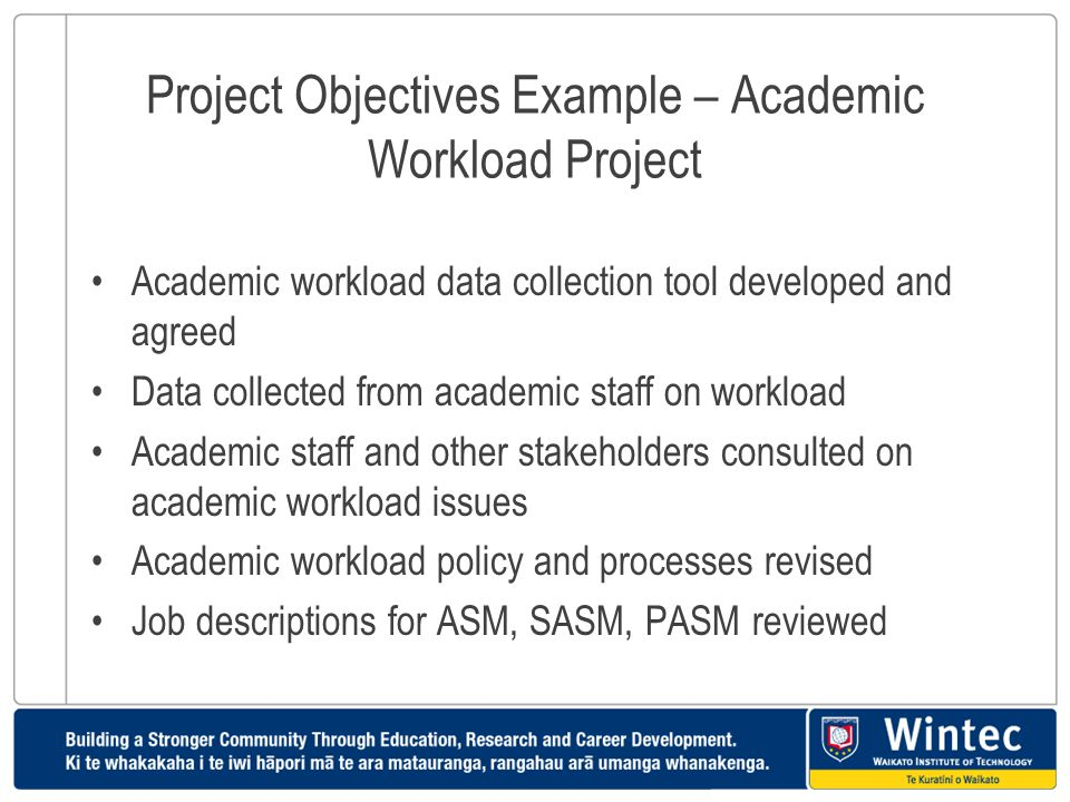 Project Objectives Example – Academic Workload Project Academic workload data collection tool developed and agreed Data collected from academic staff