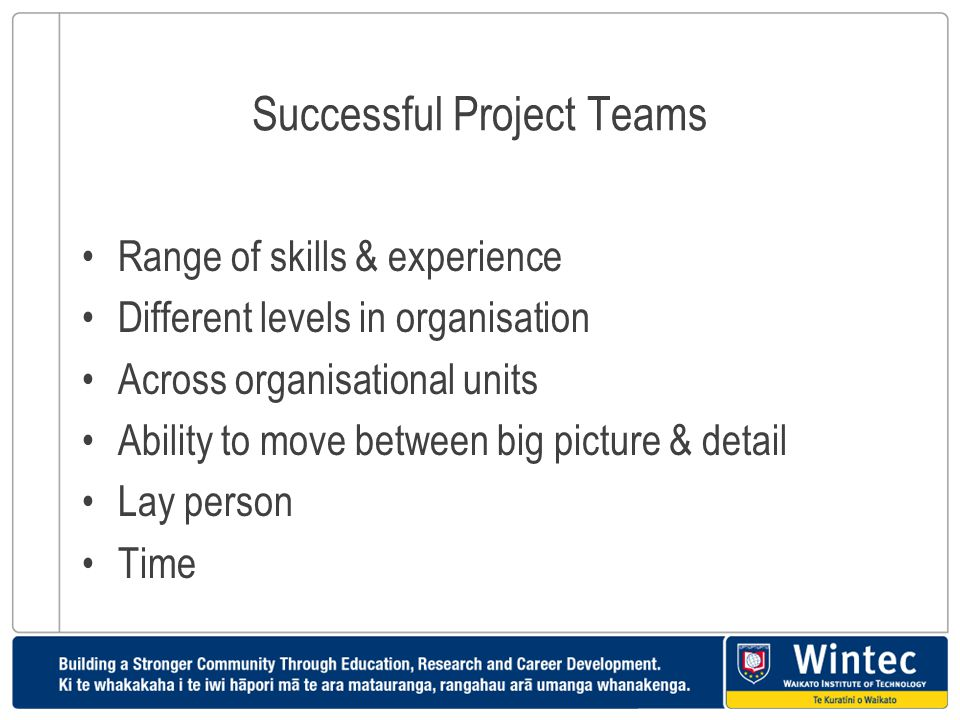 Successful Project Teams Range of skills & experience Different levels in organisation Across organisational units Ability to move between big picture