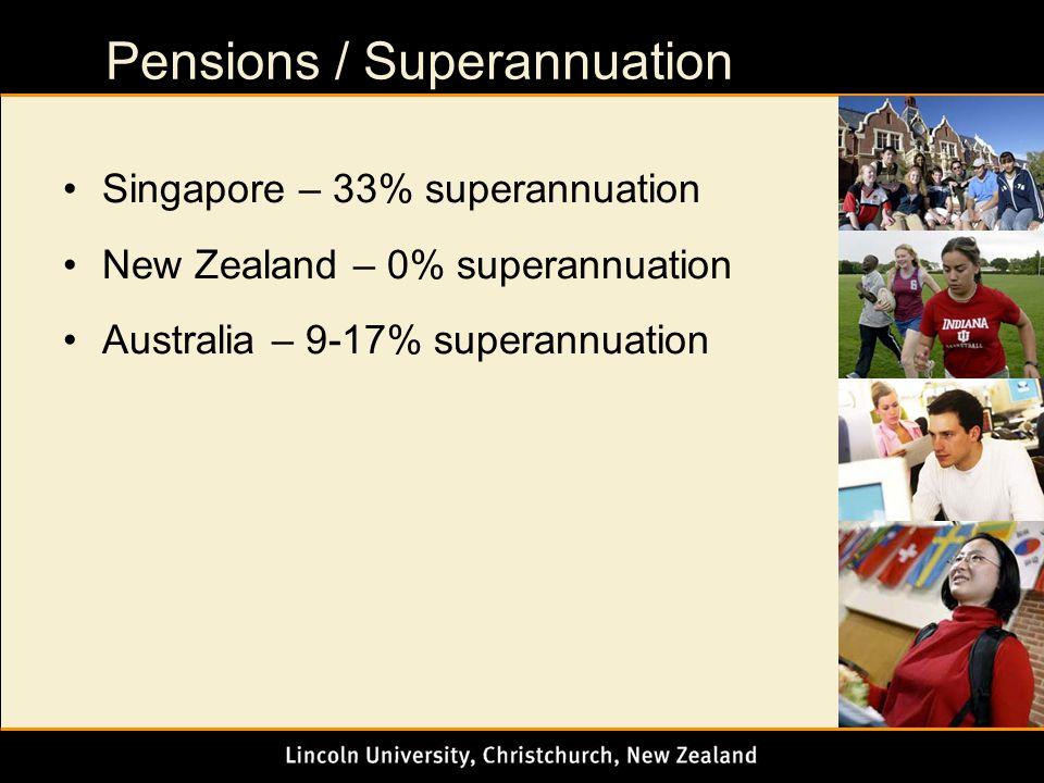 Pensions / Superannuation Singapore – 33% superannuation New Zealand – 0% superannuation Australia – 9-17% superannuation