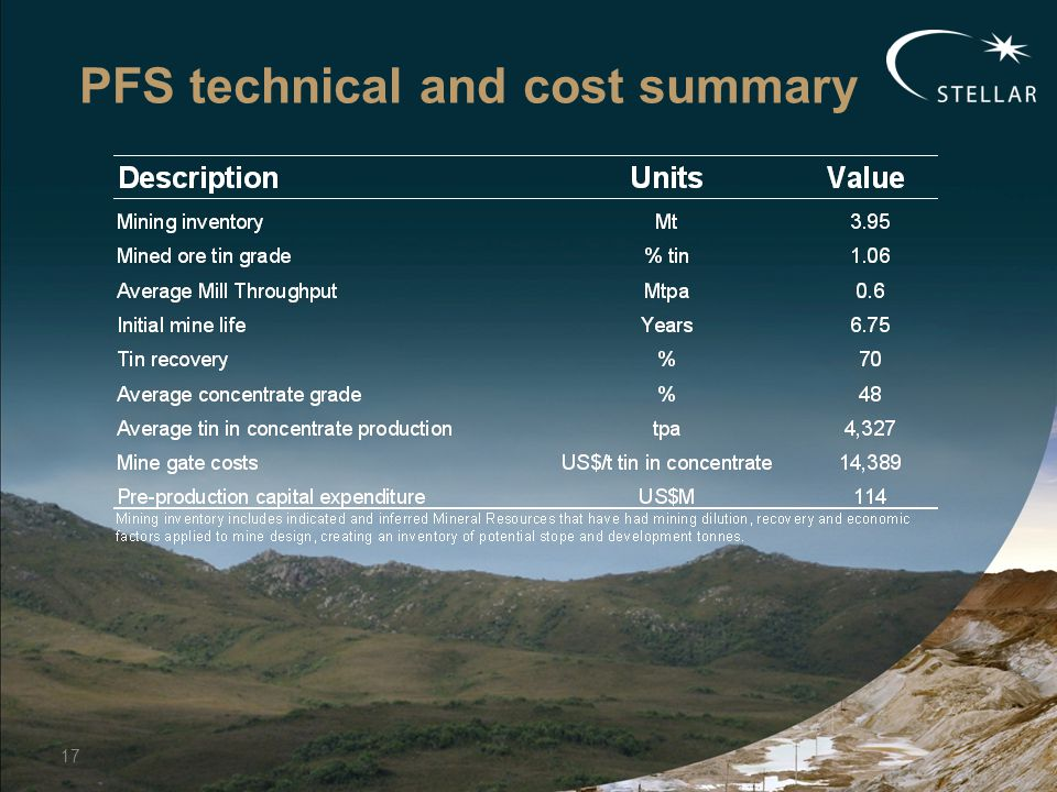 PFS technical and cost summary 17