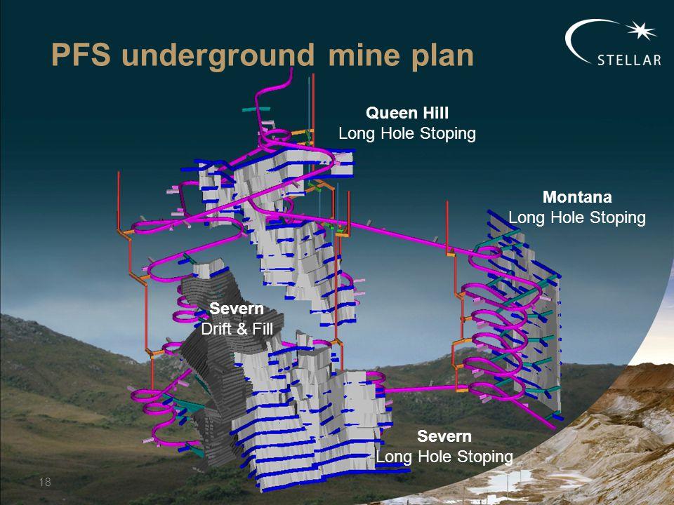 PFS underground mine plan 18 Queen Hill Long Hole Stoping Montana Long Hole Stoping Severn Drift & Fill Severn Long Hole Stoping