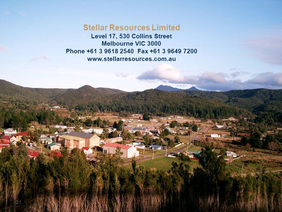 Stellar Resources Limited Level 17, 530 Collins Street Melbourne VIC 3000 Phone +61 3 9618 2540 Fax +61 3 9649 7200 www.stellarresources.com.au 21