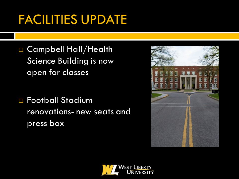 FACILITIES UPDATE  Campbell Hall/Health Science Building is now open for classes  Football Stadium renovations- new seats and press box