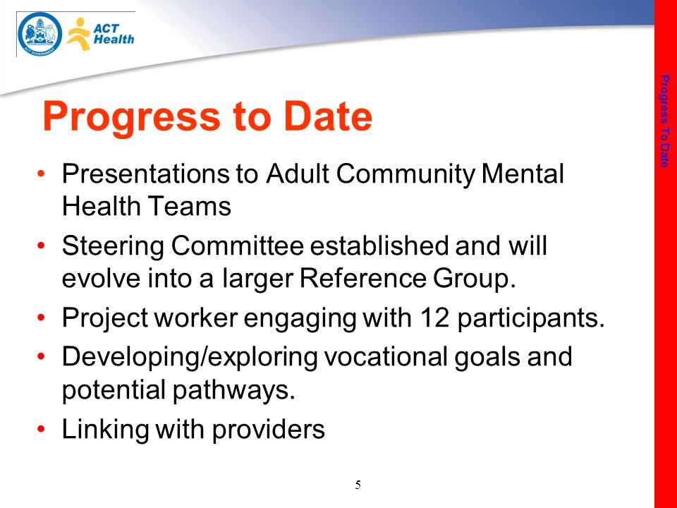 5 Progress to Date Presentations to Adult Community Mental Health Teams Steering Committee established and will evolve into a larger Reference Group.