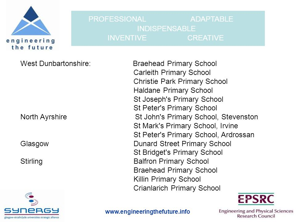 www.engineeringthefuture.info PROFESSIONAL ADAPTABLE INDISPENSABLE INVENTIVE CREATIVE West Dunbartonshire: Braehead Primary School Carleith Primary School Christie Park Primary School Haldane Primary School St Joseph s Primary School St Peter s Primary School North Ayrshire St John s Primary School, Stevenston St Mark s Primary School, Irvine St Peter s Primary School, Ardrossan Glasgow Dunard Street Primary School St Bridget s Primary School Stirling Balfron Primary School Braehead Primary School Killin Primary School Crianlarich Primary School
