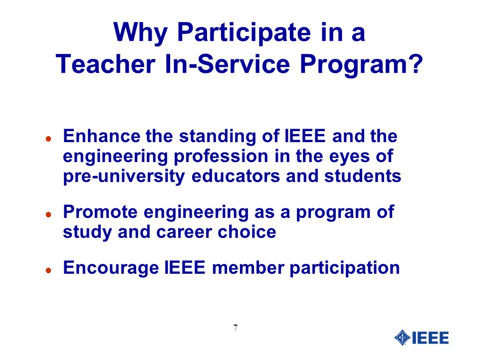 8 Have fun Why Participate in a Teacher In-Service Program?