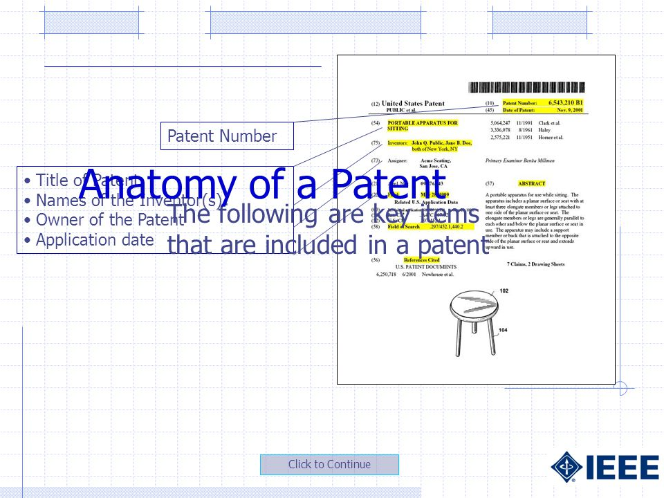 Title of Patent Names of the Inventor(s) Owner of the Patent Application date The following are key items that are included in a patent Patent Number Anatomy of a Patent Click to Continue