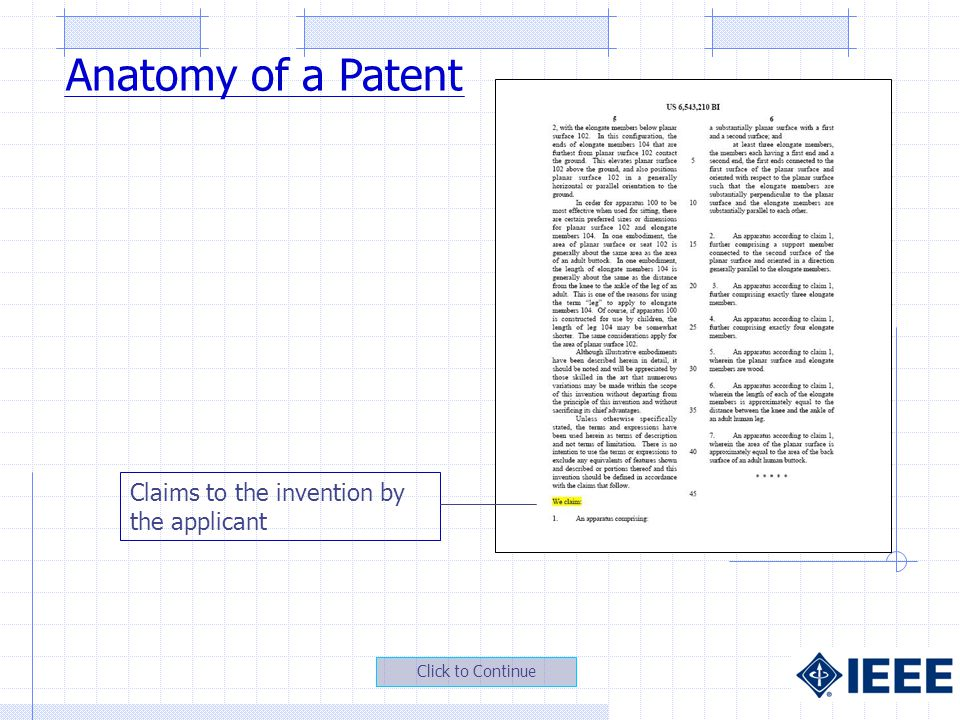 Claims to the invention by the applicant Anatomy of a Patent
